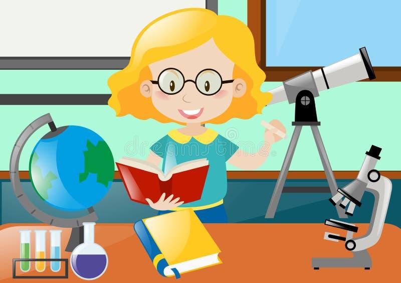 Livro de leitura do professor na sala de aula ilustração royalty free