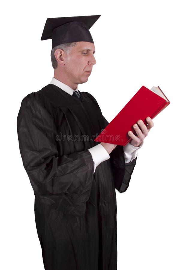 Livro de leitura do professor Professor isolado fotografia de stock