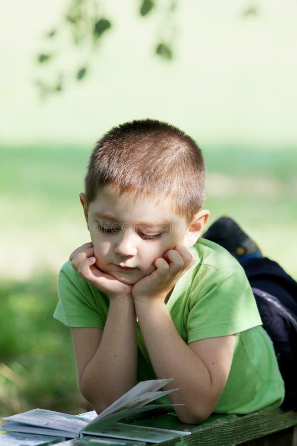 Livro de leitura do rapaz pequeno no parque fotos de stock royalty free