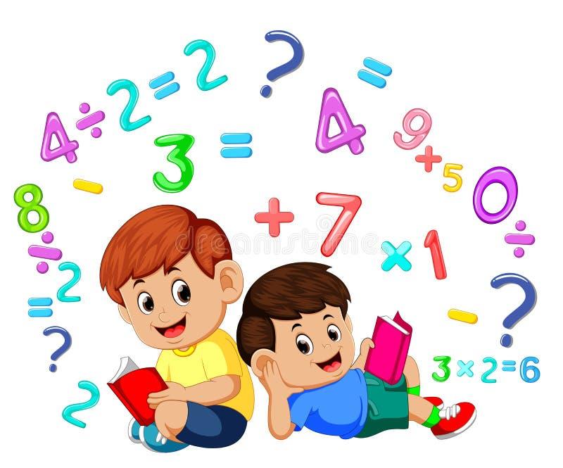 Livro de leitura de dois meninos e matemática da aprendizagem ilustração do vetor