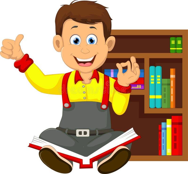 Livro de leitura dos desenhos animados das crianças Lição, caixa ilustração royalty free