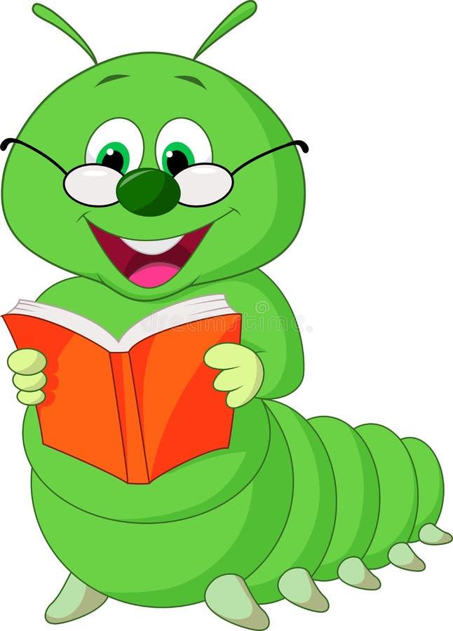 Livro de leitura dos desenhos animados de Caterpillar ilustração stock