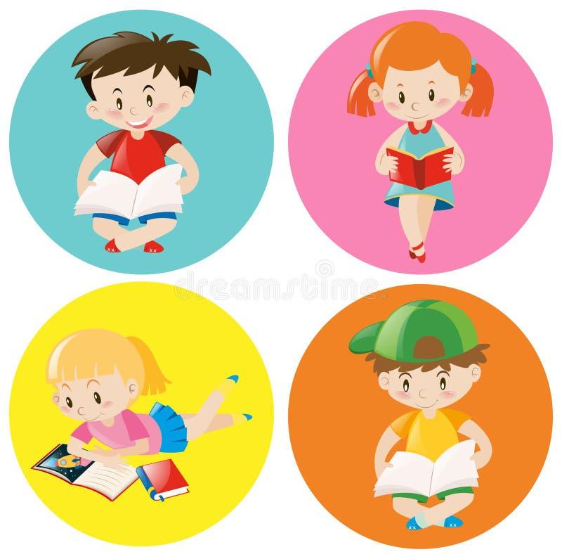 Livro de leitura dos meninos e das meninas no crachá redondo ilustração do vetor