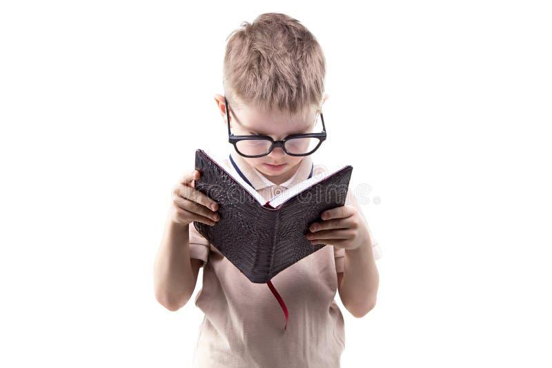 Livro de leitura educado pequeno do menino fotos de stock royalty free