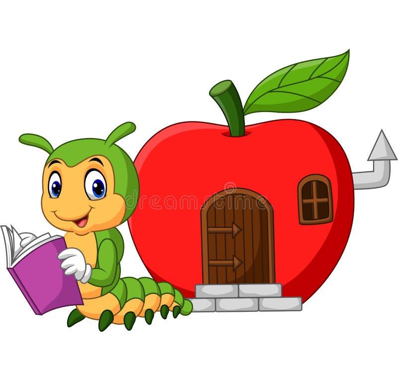 Livro de leitura engraçado da lagarta dos desenhos animados ilustração do vetor