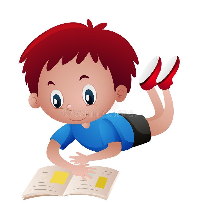 Livro de leitura feliz do menino ilustração royalty free