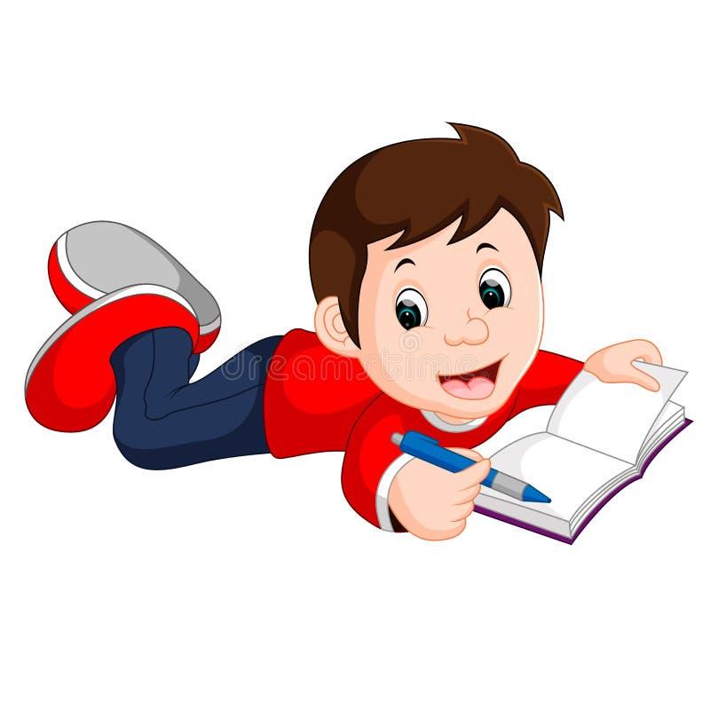 Livro de leitura feliz do menino apenas ilustração stock