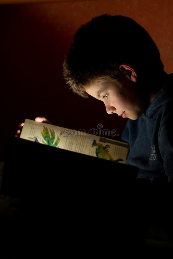 Livro de leitura novo do menino foto de stock