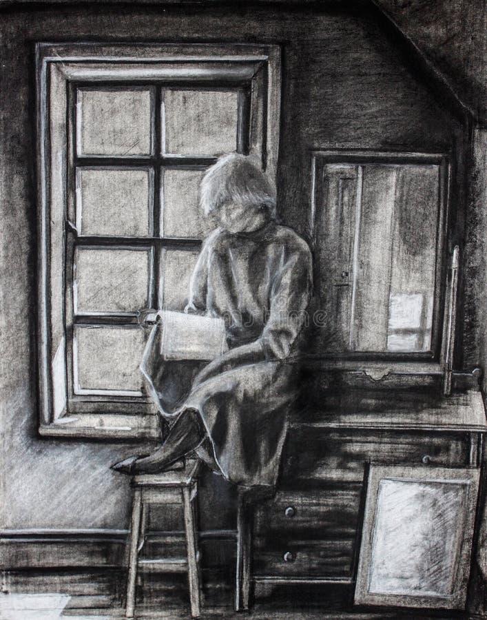 Livro de leitura sozinho da menina ilustração stock