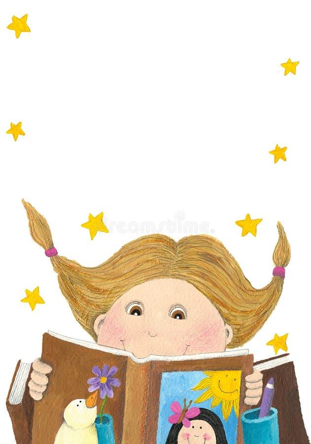 Livro de leitura surpreendido da menina ilustração stock