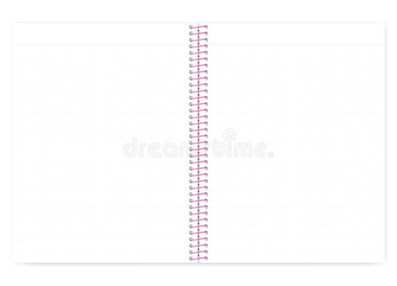 Livro de nota alinhado Open com espiral cor-de-rosa, modelo do limite do fio do vetor ilustração royalty free