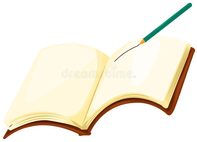 Livro de nota com lápis ilustração royalty free