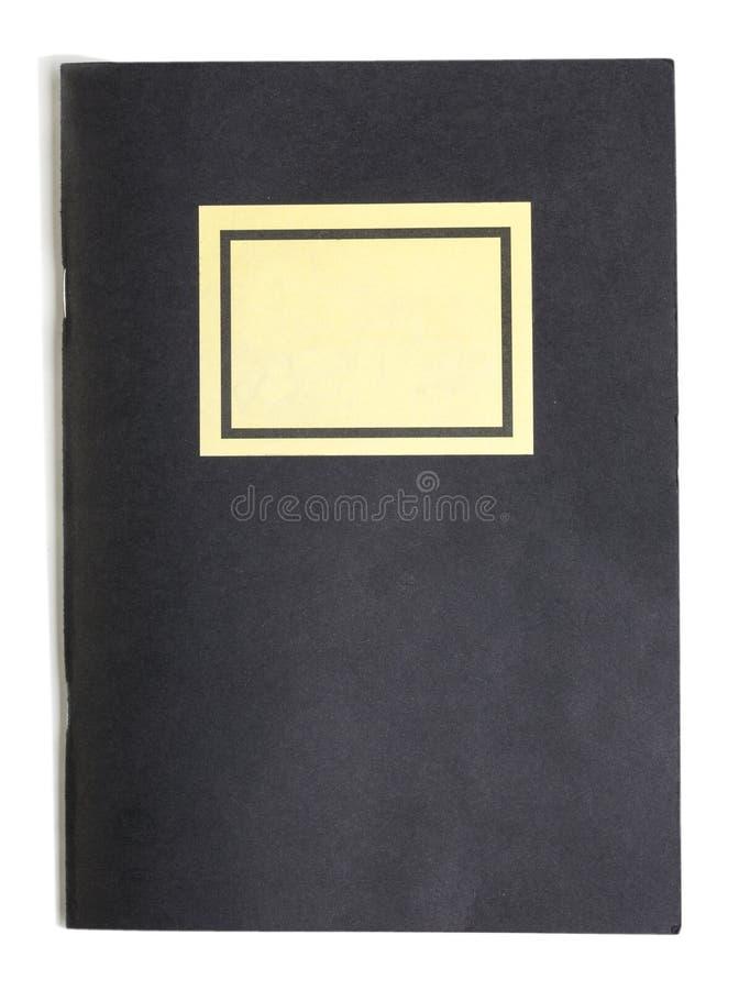 Livro de nota preto com a etiqueta do nome isolada no branco imagem de stock royalty free