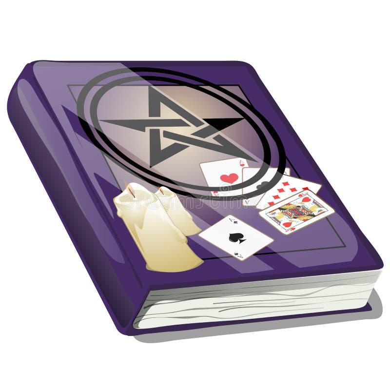 Livro de Ouija mágico isolado no fundo branco Esboço para o cartão, o cartaz festivo ou o convite do partido ilustração stock
