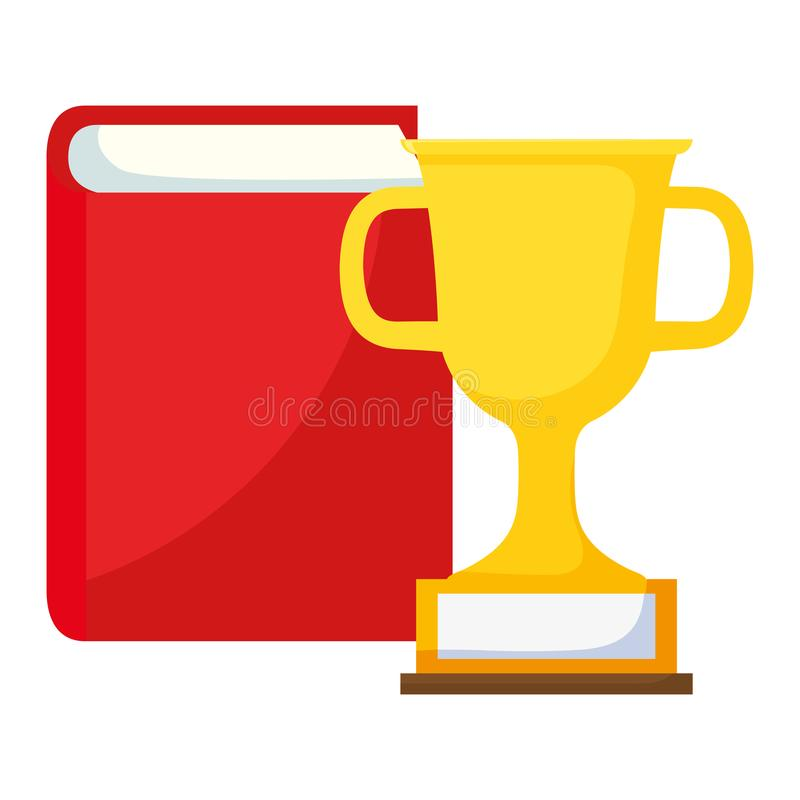 Livro de texto e copo do troféu ilustração royalty free