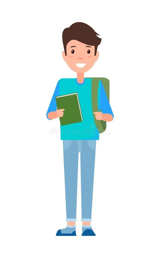 Livro de texto de Teenage Schoolboy Freshman do estudante masculino ilustração stock