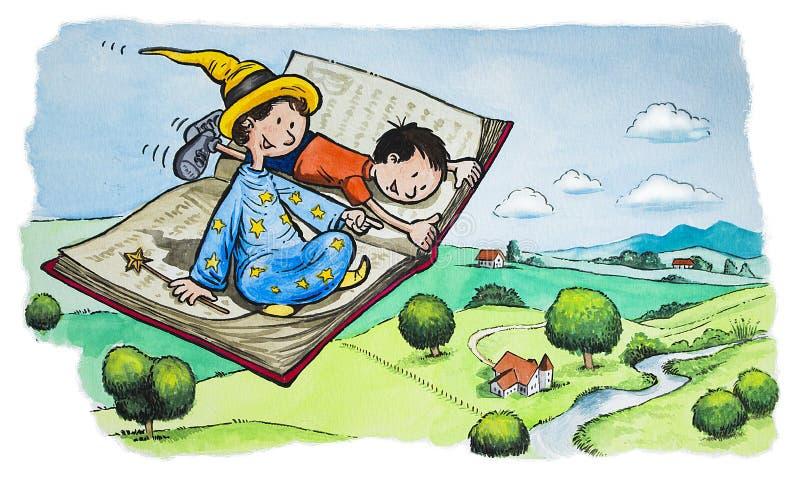 Livro de voo mágico ilustração stock