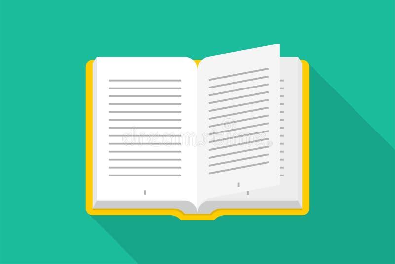 Livro do ícone do vetor no projeto liso Abra o livro ilustração stock