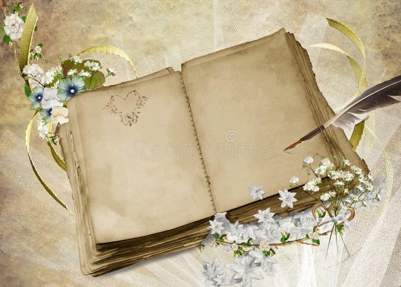 Livro do casamento do vintage ilustração royalty free