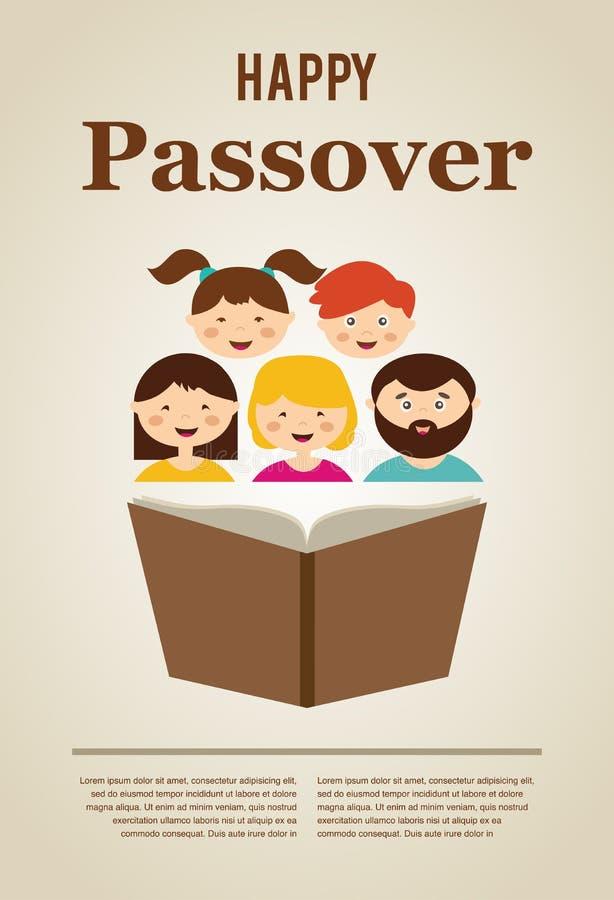 Livro do hagada da leitura da família no feriado do passover ilustração do vetor