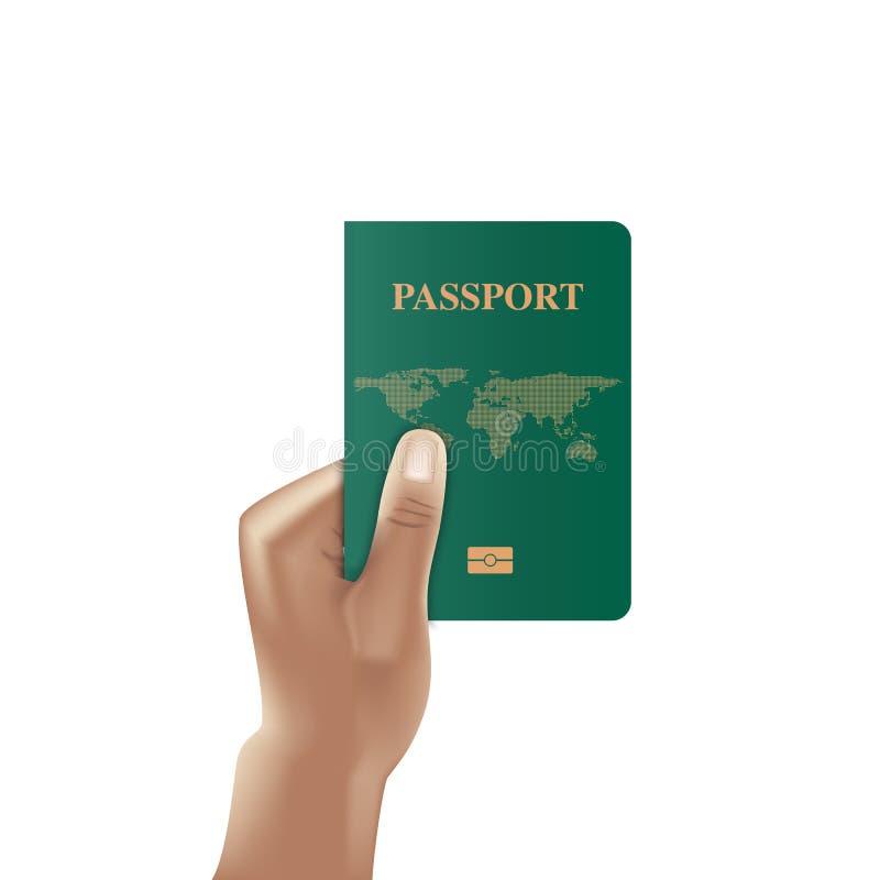 Livro do passaporte com terra arrendada da mão, cidadão da identificação, vetor, ilustração do vetor
