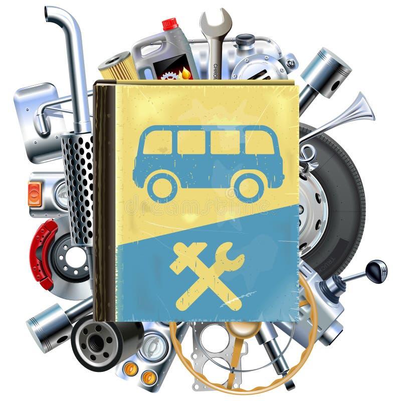 Livro do reparo do ônibus do vetor com sobressalentes do carro ilustração do vetor