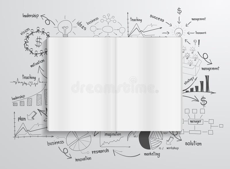 Livro do vetor com cartas e gráficos do desenho ilustração do vetor