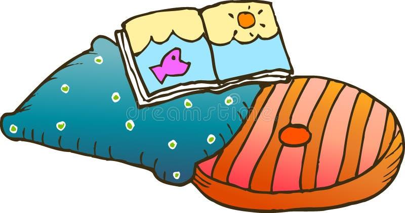 Livro e coxins ilustração stock