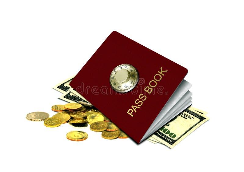 Livro e dinheiro da passagem do banco fotos de stock royalty free