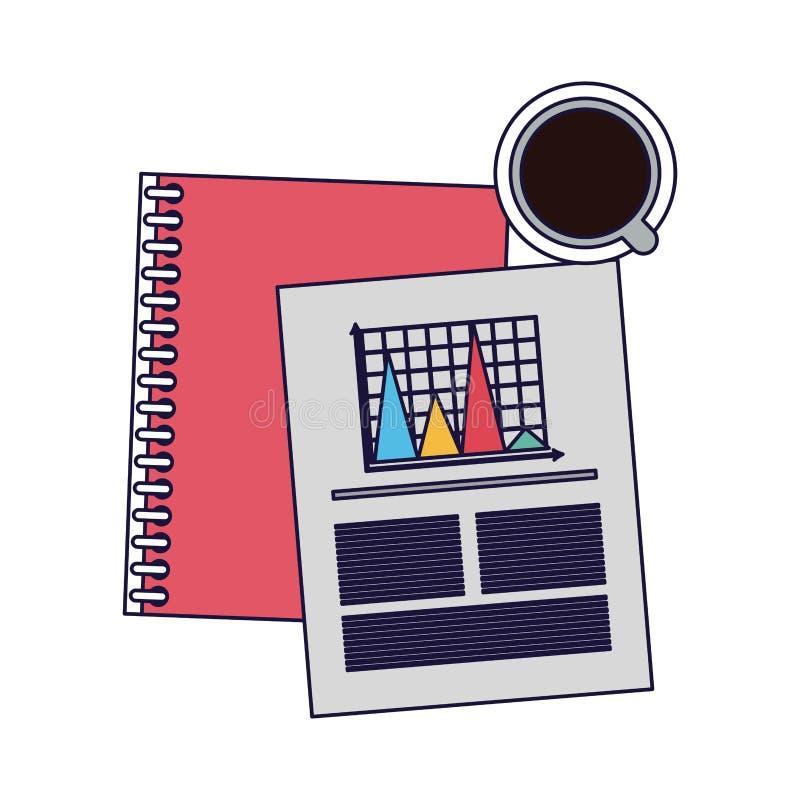 Livro e gráfico do negócio com café ilustração do vetor