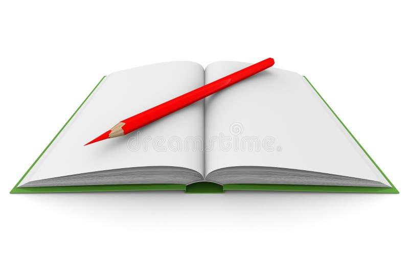 Livro e lápis da abertura no fundo branco ilustração royalty free
