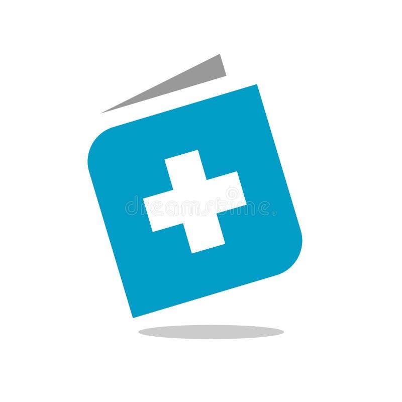 Livro e logotipo positivo, livro médico azul, projeto do ícone do livro da saúde, símbolo positivo do livro ilustração do vetor