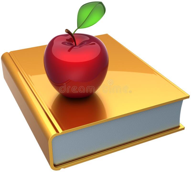 Livro e maçã de escola que aprendem o símbolo ilustração do vetor
