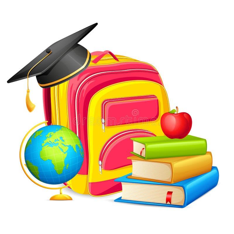 Livro e saco da educação ilustração do vetor