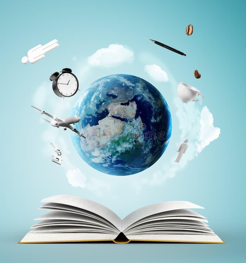 Livro e terra ilustração stock