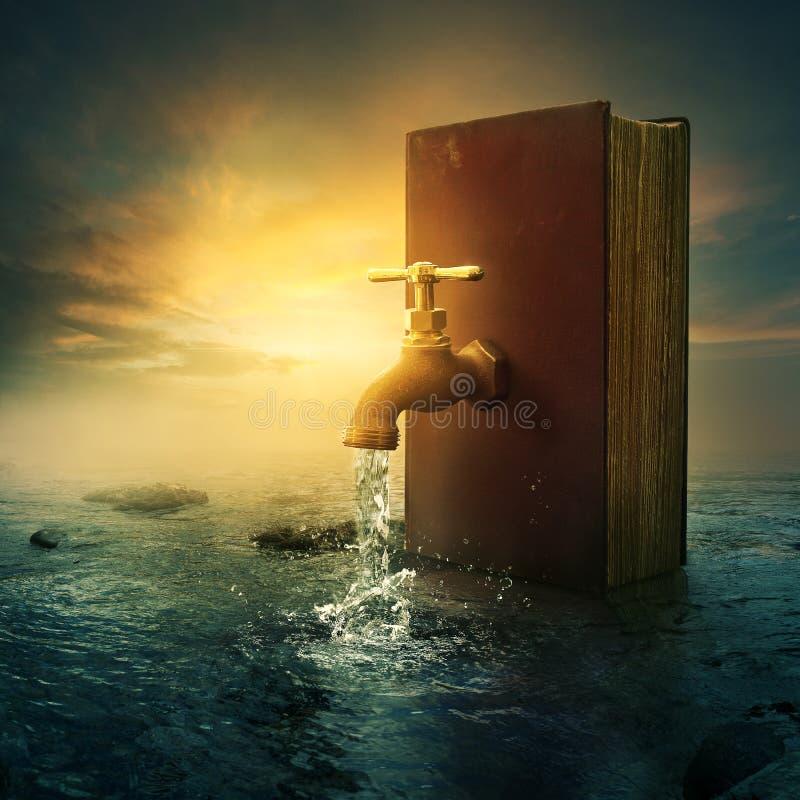Livro e torneira ilustração do vetor