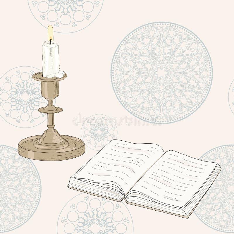 Livro e vela ilustração stock
