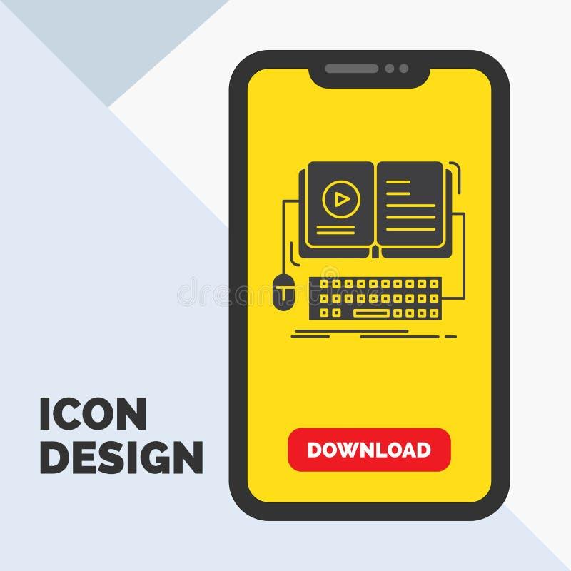 livro, ebook, ícone interativo, móvel, video do Glyph no móbil para a página da transferência Fundo amarelo ilustração do vetor