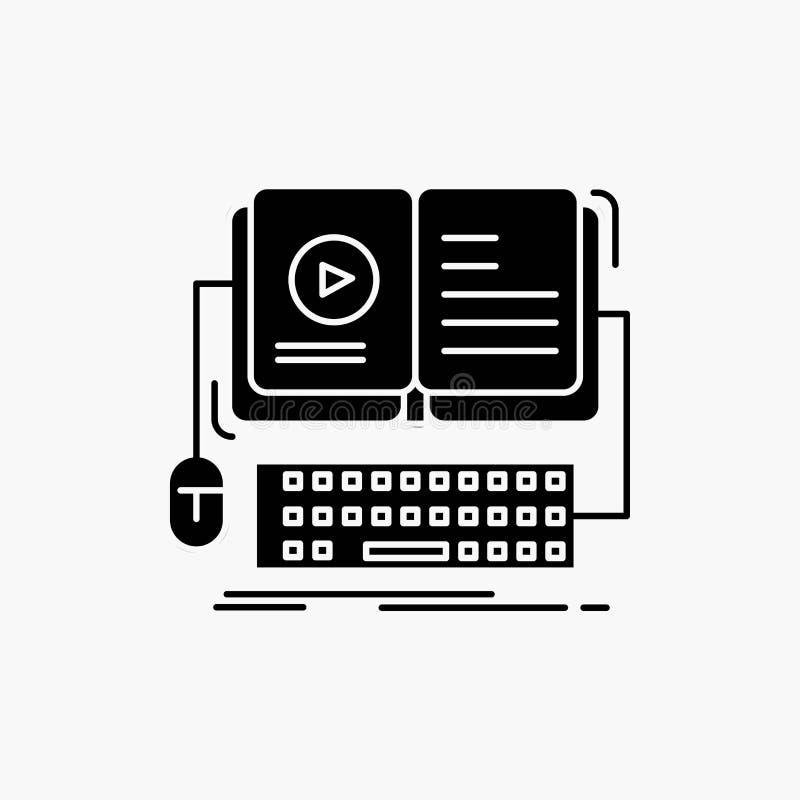 livro, ebook, ?cone interativo, m?vel, video do Glyph Ilustra??o isolada vetor ilustração royalty free