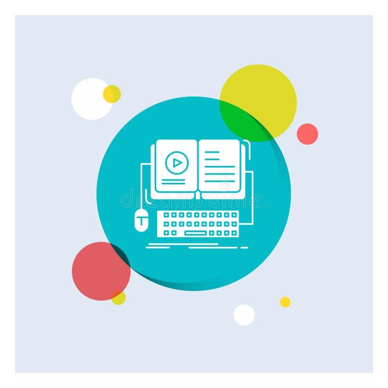 livro, ebook, fundo colorido do círculo do ícone branco interativo, móvel, video do Glyph ilustração stock
