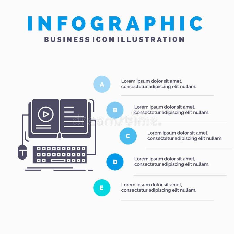 livro, ebook, molde interativo, m?vel, video de Infographics para o Web site e apresenta??o ?cone cinzento do GLyph com infograph ilustração stock