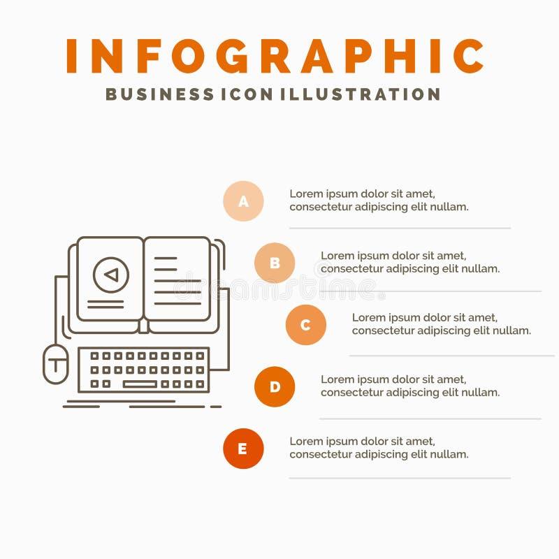 livro, ebook, molde interativo, m?vel, video de Infographics para o Web site e apresenta??o Linha ?cone cinzento com infographic  ilustração stock