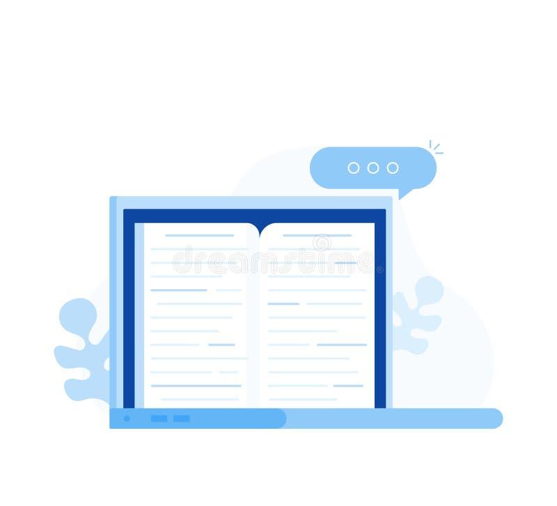 Livro eletrônico, conceito digital da leitura, Internet que aprende, biblioteca do eBook, compartimento em linha ilustração stock