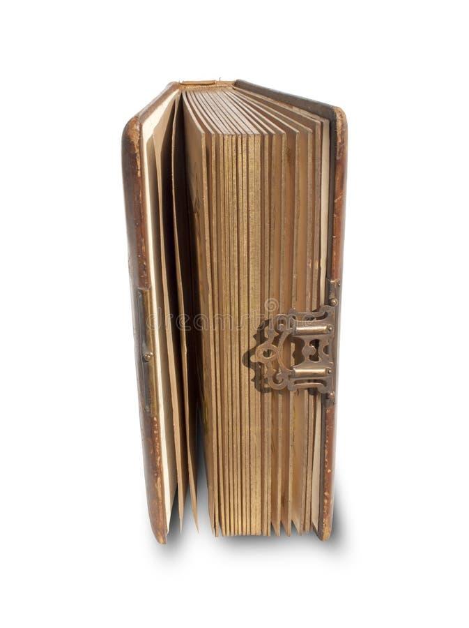 Livro encadernado de couro antigo imagem de stock