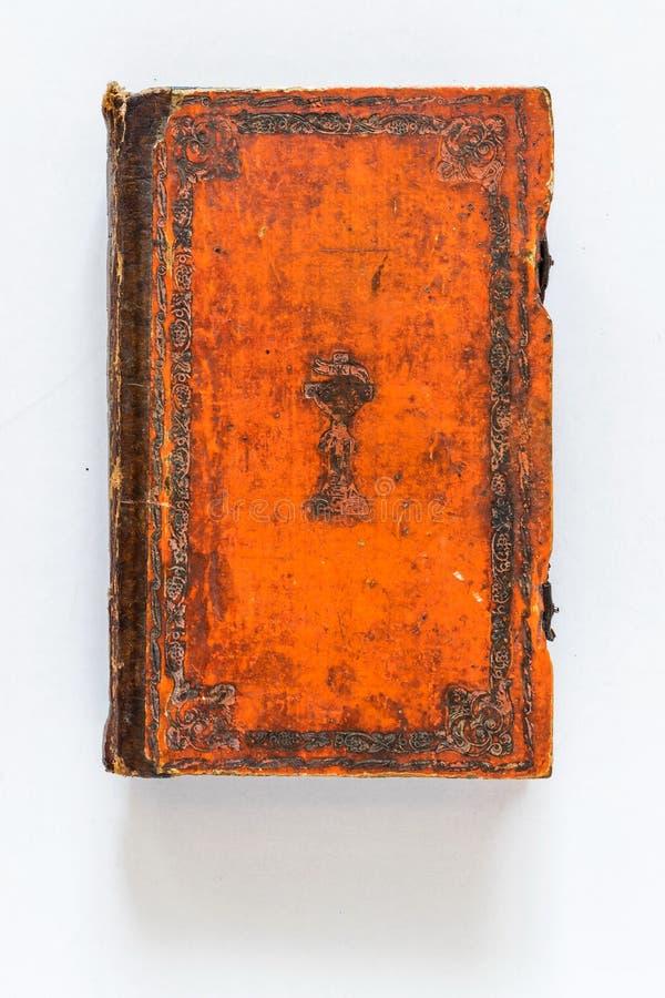 Livro encadernado de couro do vintage fotografia de stock