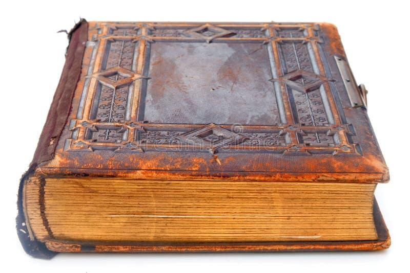 Livro encadernado de couro velho fotografia de stock