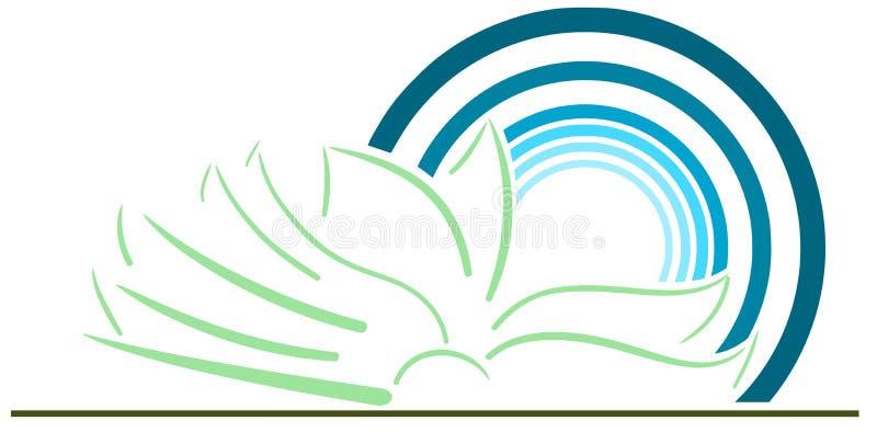 Livro estilizado com o sol isolado ilustração stock