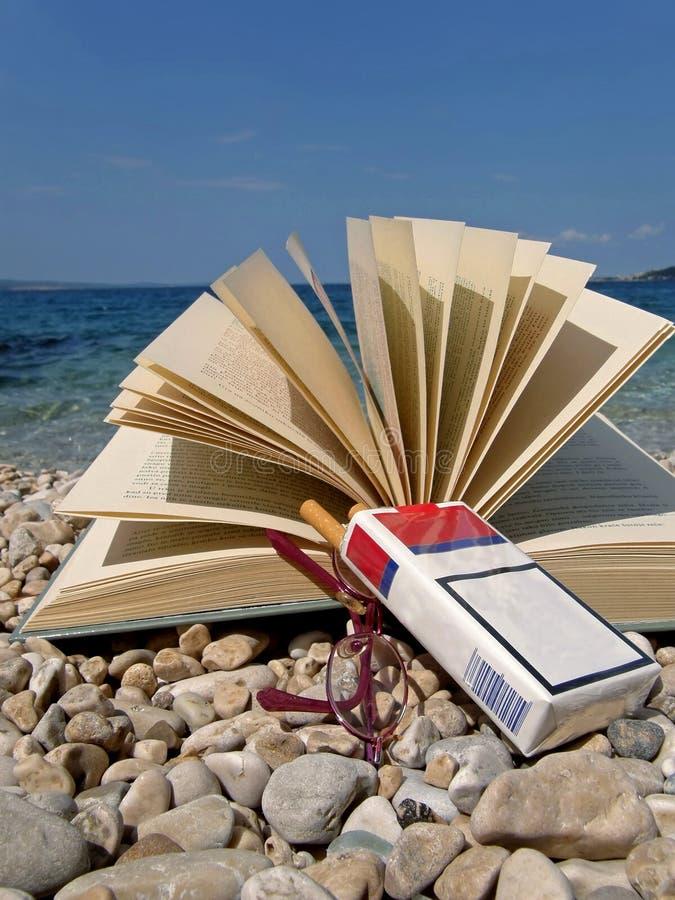 Livro, eyeglasses, cigarro na praia ilustração stock