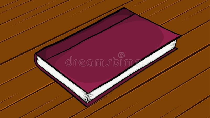 Livro fechado dos desenhos animados que encontra-se na mesa de madeira ilustração do vetor