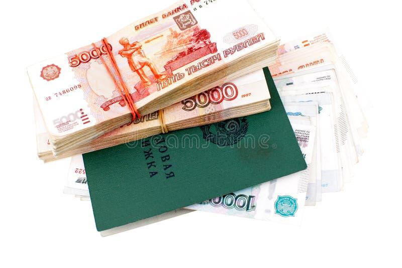 Livro Labour do russo e um milhão de rublos fotos de stock